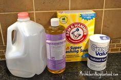 DIY LAUNDRY SOAP RECIPE with Dr Bronner's  2 cups hot water ⅓ cup of salt {works as a abrasive to help clean stains} 1 cup of washing soda {found in laundry aisle} can also just use plain baking soda! 1 cup Dr. Bronner's Castile Soap in liquid form {Found in the natural body products section at my Meijer. I adore the scent of the French Lavender!} Clean empty gallon milk jug