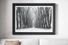 Black and white photography print. A stunning photograph of a snowy tree lined path.  MY PRINTS  Prints are produced on a professional Canon printer using Canon dye based inks and a 6 colour system to ensure vivid and rich coloured prints every time. Actual colours may vary slightly as each monitor displays colours differently.  Please note that frames are not included with the print, the image is for illustration purposes only.  I will do my best to make sure you are happy with your…
