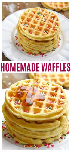 Easy Homemade Waffles Recipe for a fun family breakfast! Thick, crispy, fluffy, waffles at home! Our waffle batter can be used for big waffles or mini waffles. Waffle Recipe No Milk, Easy Waffle Recipe, Waffle Recipes, Brunch Recipes, Breakfast Recipes, Breakfast Ideas, Pancake Recipes, Breakfast Dishes, Breakfast Time