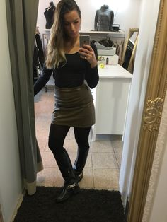 #leather skirt and #riding boots