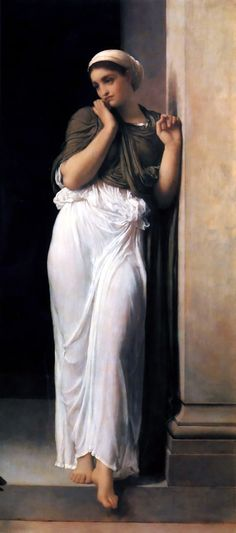 """Nausicaa- Paint by Frederic Leighton ca. 1878. Nausicaa (Greek: Ναυσικάα/Ναυσικᾶ /nɔːˈsɪkiə/; also rendered Nausicaä, Nausikaa) is a character in Homer's Odyssey (Odýsseia). She is the daughter of King Alcinous (Alkínoös) and Queen Arete of Phaeacia. Her name, in Greek, means """"burner of ships"""""""