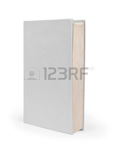 Blank vertical book cover template with pages in front side standing..
