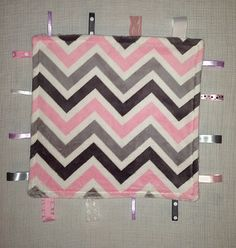 Pink and grey chevron minky tag blanket by CashAndCari on Etsy