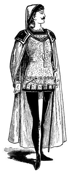 Shakespearean Costume ~ Free Vintage Masquerade Clip Art