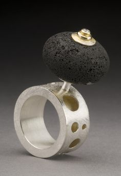 "Art Jewelry, Juan Carlos Caballero-Perez, Artist, Ring, Sterling silver, 18k gold, lava rock, diamond,   2 ¼ ""x 1 1/8""x ¾ """