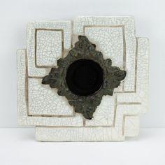 www.PaulasLoft.com Mid Century Ikebana Vase Pottery White Crackle Glaze #PaulasLoft #MidCentury #Ikebana #Vase #Pottery #White #CrackleGlaze
