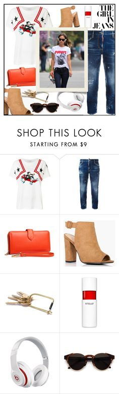 """THE GIRL IN JEANS!!!"" by kskafida ❤ liked on Polyvore featuring STELLA McCARTNEY, Dsquared2, Boohoo, 10 Crosby Derek Lam, Beats by Dr. Dre, Humör and RetroSuperFuture"