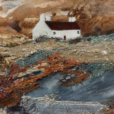 """Mixed Media Art By Louise O'Hara - """"A passing storm"""" Painted Paper, Hand Painted, Work Overseas, Detail Art, Vintage Fabrics, Medium Art, Abstract Landscape, Embroidery Applique, Mixed Media Art"""