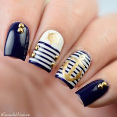 Anchor Nail Art Designs shape of your nail is very important to the styles you select. Nautical Nail Designs, Nautical Nail Art, Beach Nail Designs, Acrylic Nail Designs, Nail Art Designs, Anchor Nail Designs, Nails Design, Anchor Nail Art, Cruise Nails