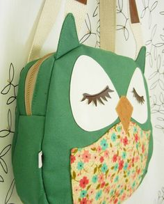 Wendy the Owl Applique Canvas Tote Purse Handbag Shoulder por Cuore