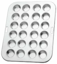 "Norpro 24 Cup Tin Mini Muffin Pan by Norpro. $10.75. Hand washing recommended. Made of heavy duty tin. Mini Muffin size, top 1.75 inches/4.5cm, bottom 1.25 inches/3cm and depth .75 inches/2cm. Makes 24, 1.75"" mini muffins.  Also use for making cupcakes or hors d'oeuvres."