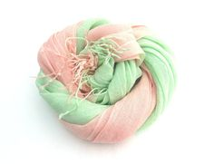 Mint and Apricot Linen Scarf Pastel Scarf Womens by Schalrausch, €26.50