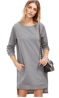 Online shopping for Heather Grey Raglan Sleeve High Low Sweatshirt Dress from a great selection of women's fashion clothing & more at MakeMeChic. Sweatshirt Makeover, Sweatshirt Refashion, Sweatshirt Dress, Long Back Dress, Manga Raglan, Chic Dress, Couture, Crochet, Short Sleeve Dresses