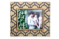 16x20 Morocco Portrait Frame Navy and Gold by deltagirlframes