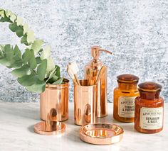 The copper bathroom range by Domayne brings a perfect amount of sophistication to the bathroom and will help you stay organized and chic with a vintage feel. The tumbler, canister and lotion bottle come as a package deal, but can be purchased separately. Copper Rose, Rose Gold, Copper Blush, Copper Bathroom Accessories, Lotion, Copper Interior, Color Cobre, Smart Tiles, Stunning Summer