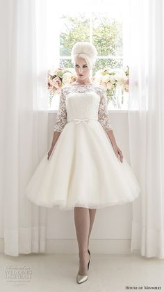 house of mooshki 2017 bridal three quarter sleeves illusion bateau neck semi sweetheart necklne heavily embellished bodice romantic knee length short wedding dress open v back (millie) mv -- House of Mooshki 2017 Wedding Dresses #wedding #bridal #weddingdress