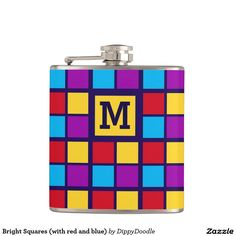 Bright Squares (with red and blue) Personalized Hip Flask