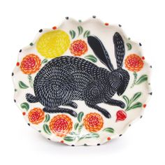 Black Rabbit Lunch Plate by Sue Tirrel / The Clay Studio