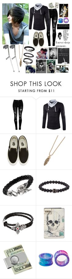 """""""I'm lonely -Dustin"""" by rickyhorror28 ❤ liked on Polyvore featuring Vans, Topman, Manuel Bozzi, Simon Carter, Creed 1913, Alexander McQueen, American Coin Treasures, Hot Topic, WALL and bedroom"""