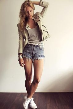 Khaki jacket with denim shorts