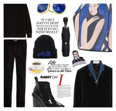 """""""dancing in the rain"""" by sugaplump ❤ liked on Polyvore featuring Gérard Darel, Madewell, Hunter, KÉJI, Onesixone, Alexander McQueen, Marco Bicego, WALL and rainyday"""