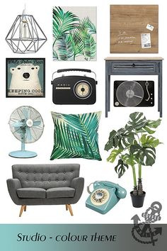 Blue, Green, Grey and B&W Studio – Home Decor Theme