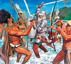 Death of Portuguese navigator Fernão Magalhães (Ferdinand Magellan) in Battle of Mactan (Philippines) 1521