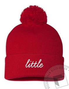 Little Embroidered Beanie (available in black, navy, forest, and red) by ABD BlockBuy! Just $19-21 each plus shipping until 11/4 | Adam Block Design | Custom Greek Apparel & Sorority Clothes |www.adamblockdesign.com