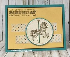 Carousel Birthday stamp set, Cupcakes & Carousel designer paper, Stitched Shapes Framelits, stampwithpeggy.com