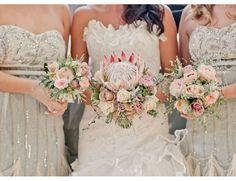 {Wedding Trends} : Rustic Vintage Wedding Bouquets - Belle The Magazine Bouquet De Protea, Bouquet Flowers, Floral Bouquets, Protea Wedding, Wedding Bouquets, Wedding Flowers, Green Wedding, Ideas, Bridesmaid Dresses