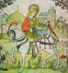 Saint Martin of Tours shares his coat with the beggar, fresco around Oberwesel, Liebfrauenkirche, Martinsfresko with Martin's Church. Catechism, Medieval Times, Kirchen, Fresco, Vintage World Maps, History, 8 September, Painting, Angels
