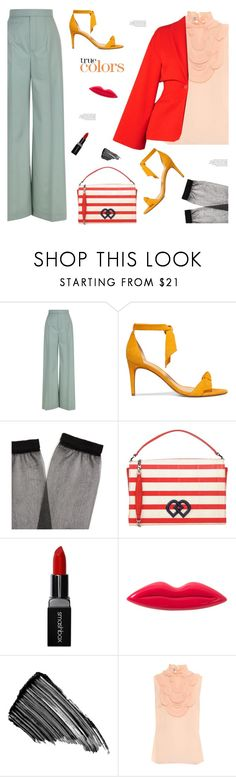 """""""there are few frills and lots of colors."""" by gabrielleleroy ❤ liked on Polyvore featuring Chloé, Alexandre Birman, Raey, Dsquared2, Smashbox, Sonia Rykiel, Sisley, Prada, Rosetta Getty and ruffles"""