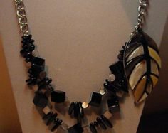 Beautiful Black Onyx and Mother of Pearl two strand necklace...striking combination - Edit Listing - Etsy