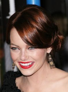 Emma Stone's sideswept bangs are just lovely