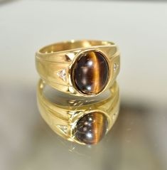Sizable Designer Brown Tiger Eye Handmade Jewellry 925 Sterling Silver Plated 8 Grams Ring Size 7.5 US
