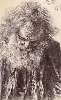 Portrait of an Old Man, 1884, pencil on paper by Adolph von Menzel, German, 1815-1905. Private Collection.  Menzel was a teacher, painter, illustrator and printmaker.