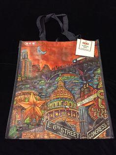 HEB Austin Texas Tote Bag Congress Music Capital Bat Bridge 6th St Artist Series  | eBay