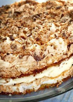 Norwegian 'Kvæfjordkake' or The World's Best as we say in Norway.- Recipe here: http://www.melk.no/oppskrifter/dessert-ost/dessertkaker/verdens-beste-kvaefjordkake/