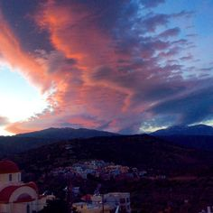Lenticular clouds over a Kalo Chorio sunset