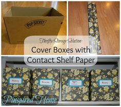 Cover regular cardboard boxes with pretty contact paper. Gives you that neat all-my-containers-match look for organizing your pantry or linen closet. Pantry Storage, Pantry Organization, Kitchen Storage, Organized Pantry, Organizing Ideas, Storage Containers, Craft Room Storage, Diy Storage, Storage Ideas