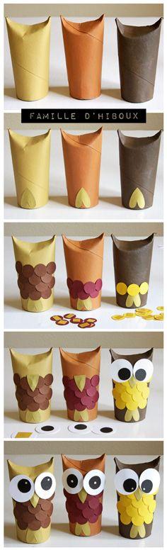 Une belle petite famille d'hiboux à créer en récupérant des rouleaux de papiers hygiénique..
