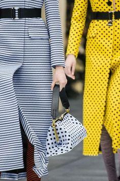 cool chic style fashion: Miu Miu   luxury fashion   polka dot, stripe, color combo