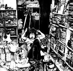 comics home room manga Comic Manga, Manga Comics, Comic Art, Manga Art, Anime Manga, Anime Art, Goodnight Punpun, Ahegao, Background Drawing