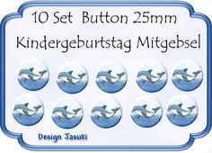 10 Set Button Delfin ,Kindergeburtstag Mitgebsel von Jasuki auf DaWanda.com