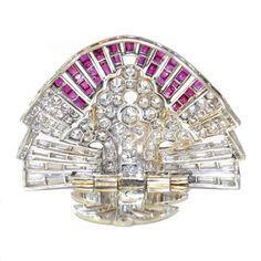 1920s Art Deco Pair of Ruby Diamond platinum Clips
