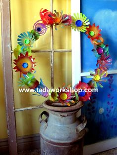 Upcycled Flower Wreath made from recycled plastic by tadaworkshop, $42.00