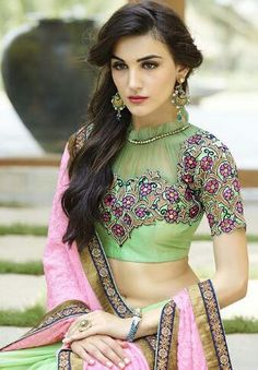 184830 Green, Pink and Majenta  color family Embroidered Sarees, Party Wear Sarees in Bemberg fabric with Border, Machine Embroidery, Moti, Patch, Stone, Zari work   with matching unstitched blouse.