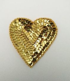 Large Gold sequin and bead Heart Sequin Appliques, Heart Ring, Sequins, Beads, Rings, Gold, Crafts, Jewelry, Fashion