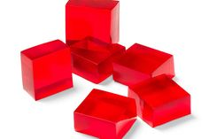 Cut raspberry flavor gelatin into squares for fun Finger Gelatin treats. Also known as Castle Bricks, kids can eat this Finger Gelatin with their hands! Gelatin Recipes, Jello Recipes, Dessert Recipes, Jello Desserts, Jello Salads, Yummy Recipes, Finger Jello, Yummy Treats, Deserts