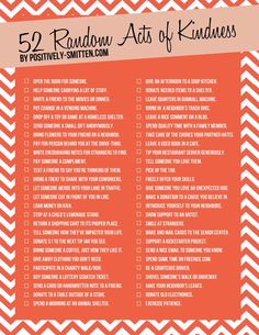 52 Random Acts of Kindness via Positively Smitten